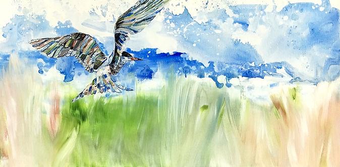 Bird, sea, painting, art, contemporary art, lintu, tiira, taide