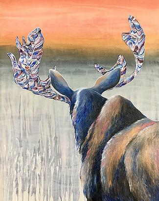 Moose, painting, art, animal art, hirvi, maalaus, eläintaide, taide