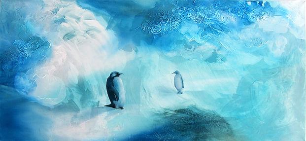 penguin, penguings, couple, art, animal art, ice, painting, pingviini, pingviinit, taide, maalaus, rakkaus, sisustus