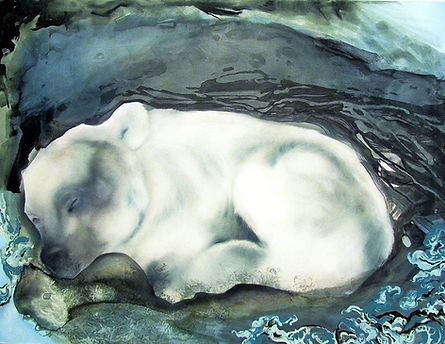 bear, sleeping bear, art, animal art, illustration, art, karhu, talviuni, taide, maalaus