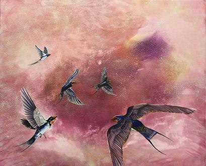 Lintukoto, pääskyt, pääsky, haarapääsky, swallow, flying, art, painting, animal art, maalaus, eläintaide, nykytaide, lumi saarikoski