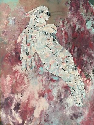 Cockatoo, bird, parrots, art, painting, kakadu, maalaus, taide, eläintaide