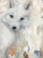 arctic fox, fox, painting, animal art, art, naali, yksityiskohta