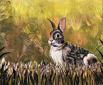 painting, animal art, rabbit, hare, animal, oil colors, interior, jänis, taide, eläintaide, maalaus, lumi saarikoski
