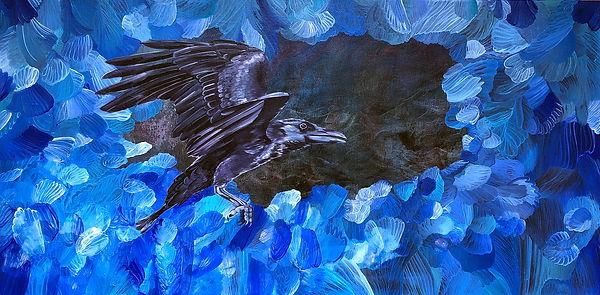 raven, painiting, animal art, bird, korppi, taide, maalaus