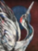 textile painting, textile art, power animals, animal art, tekstiilimaalaus, tekstiilitaide, eläintaide, voimaeläin, crane, kurki