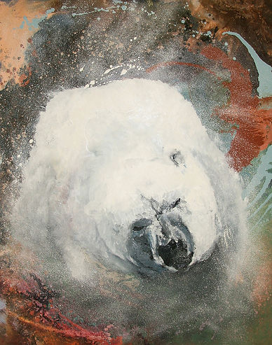 polar bear, art,polar bear shaking water, water, animal art, fine art, jääkarhu, taide, eläintaide, maalaus