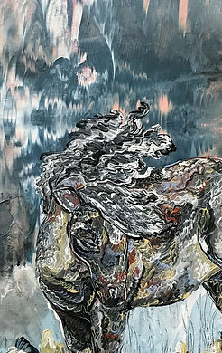 Pony, detail, painting, illustration, art, poni, taide, maalaus