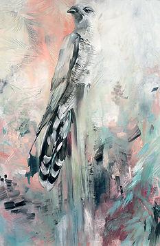 bird, art, bird painting, cuckoo, käki, maalaus, eläintaide, nykytaide, maalaus