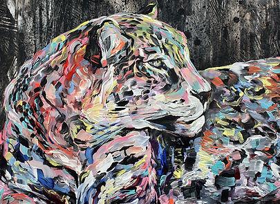leopard, colorful, painting, moon, art, leopardi, maalaus, taide