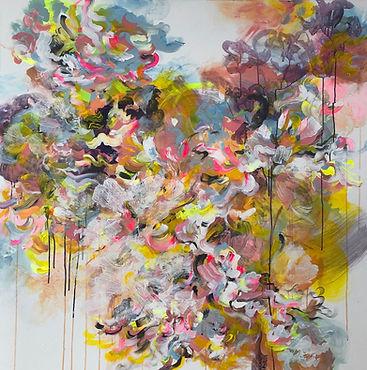 chacha, maalaus, taide, abstrakti, kukka, liike, akryylimaalaus