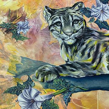 clouded leopard, acrylic, art, painting, contemporary, interior, animal art, maalaus, taide, nykymaalaus, eläintaide, puuleopardi, hulluruoho, temppeliviikuna