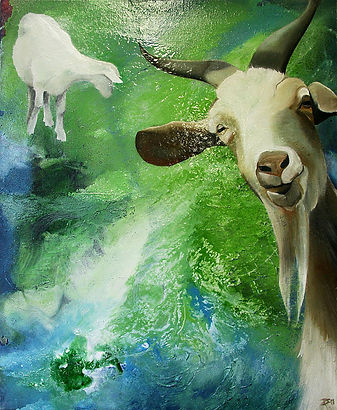 goat, goats, green, oil color, painting, art, vuohi, taide, maalaus