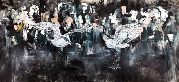 cranes, birds, painting, kurjet, taide
