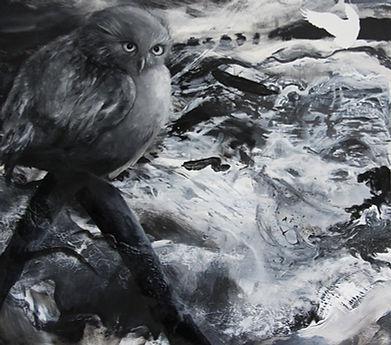 owl, owls, art, painting, hardcore, sea, storm, art, pöllö, pöllöt, taide, maalaus, myrsky