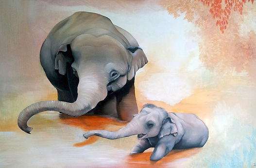 elephant, elephants, family, paiting, animal art, art, interior, norsu, norsut, norsuvauva, maalaus, taide