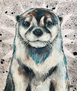 textile painting, textile art, animal art, tekstiilimaalaus, voimaeläin, saukko, odder