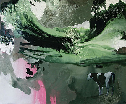 cow, cows, art, painting, oil color, contemporary art, animal art, lehmä, taide, maalaus, eläintaide