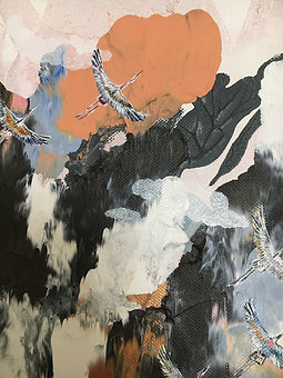 detail, cranes, flying, art, clouds, painting, kurjet, maalaus