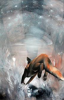 Fox, runaway, red fox, art, painting, scandinavian contemporary art, animal art, stars, kettu, punakettu, taide, maalaus, nykytaide