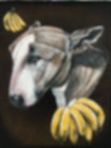 textile painting, textile art, power animals, animal art, tekstiilimaalaus, tekstiilitaide, eläintaide, voimaeläin, dog, pitbull