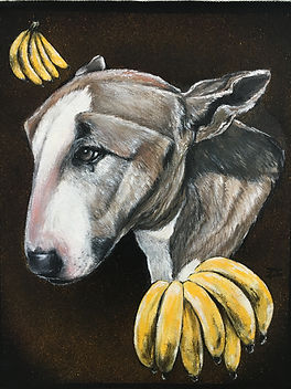textile painting, textile art, power animals, animal art, tekstiilimaalaus, tekstiilitaide, eläintaide, voimaeläin, dog, pitbull