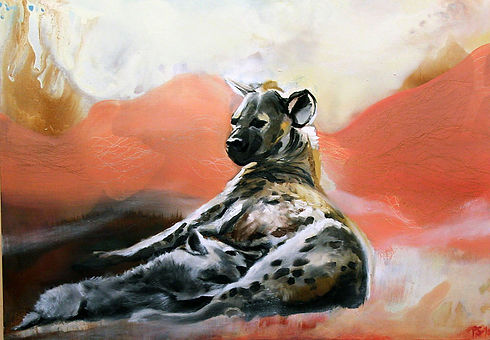 hyena, hyena with a cub, animal art, painting, hyeena, poikanen, taide