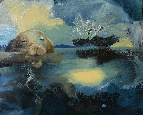 dog, retrivier, loch ness, art, painting, koira, noutaja, vesi, maalaus