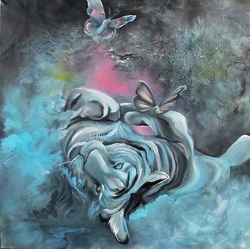tiger, art, painting, butterfly, dream, animal art, illustration, interior, tiikeri, taide, sisustustaide, eläinmaalaus