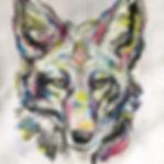 textile painting, textile art, power animals, animal art, tekstiilimaalaus, tekstiilitaide, eläintaide, voimaeläin, cojote, kojootti
