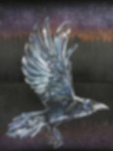 textile painting, textile art, power animals, animal art, tekstiilimaalaus, tekstiilitaide, eläintaide, voimaeläin, raven, korppi