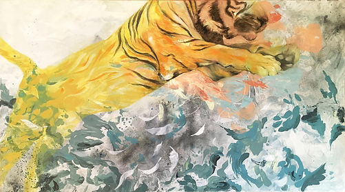 tiger, jumping tiger, feathers, art, painting, street art, tiikeri, maalaus, taide, katutaide