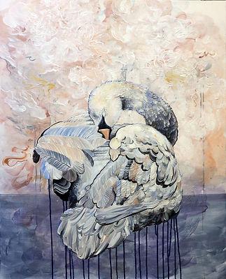 swan, joutsen, taide, maalaus, art, animal art, myth, myytti, oil color, lumi saarikoski
