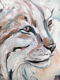 lynx, detail, animal art, ilves, maalaus, yksityiskohta