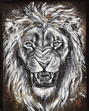 textile painting, textile art, animal art, tekstiilimaalaus, voimaeläin, lion, leijona, selkämerkki, backpiece