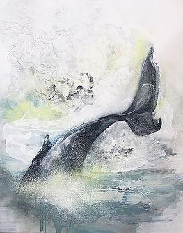 whale, diving whale, painting, sea, street art, fine art, valas, meri, maalaus, taide