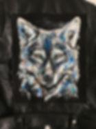 textile painting, textile art, power animals, animal art, tekstiilimaalaus, tekstiilitaide, eläintaide, voimaeläin, wolf, susi