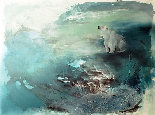 polar bear, art, painting, sea, illustration, jääkarhu, taide, maalaus
