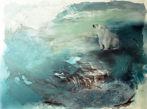 polar bear, art, painting, sea, illustration, jääkarhu, taide, maalaus