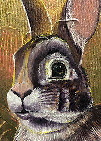 painting, animal art, rabbit, hare, animal, oil colors, interior, jänis, taide, eläintaide, maalaus, lumi saarikoski
