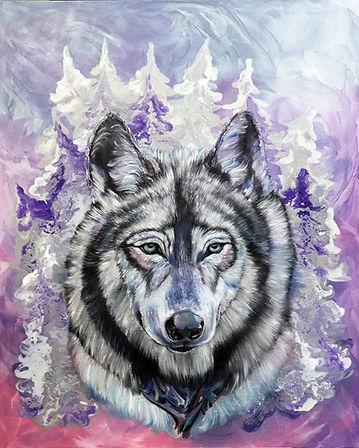 susi, taide, eläintaide, maalaus, myytti, metsä, wolf, painting, art, myth, contemporary painting, interior, animal, art