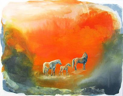 horse art, horses, painting, family, animals, art, orange landscape, fine art, hevonen, hevoset, taide, maalaus, sisustus