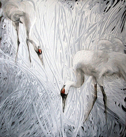 cranes, white, fine art, interior art, painting, oil colors, kurjet, maalaus, taide, sisustus
