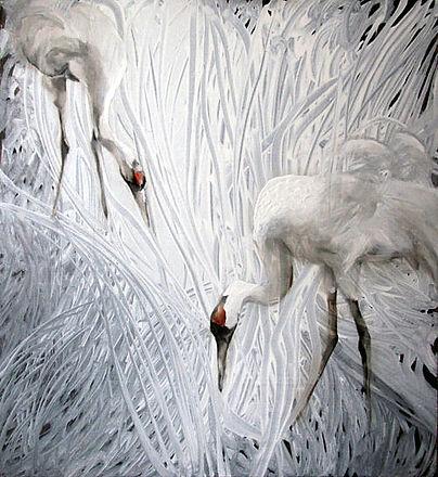cranes, white, fine art, interior art, painting, oil colors, kurjet, maalaus, taide, sisustus
