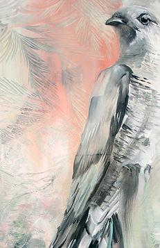 cuckoo, detail, art, painting, käki, maalaus, nykytaide, eläintaide