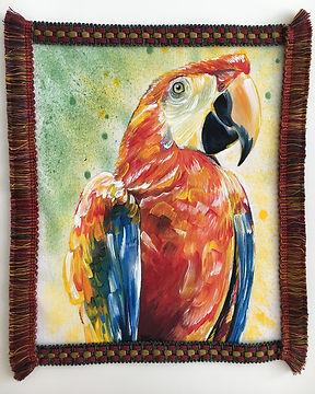 textile painting, textile art, animal art, tekstiilimaalaus, voimaeläin, parrot, papukaija
