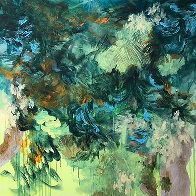 abstrakti taide, abstract art, painting, akryyli, nykytaide, maalaus, metsä, luonnonkierto, taide, lumi saarikoski, suomalainen taide, contemporary painting, forest
