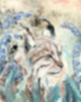 lynx, bobcat, animal art, nature, lily of the valley, art, ilves, kielo, taide, maalaus, eläintaide