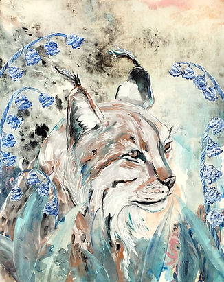 lynx, bobcat, animal art, nature, lily of the valley, art, ilves, kielo, taide, maalaus, eläintaide