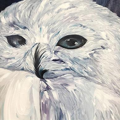 Snowy owl, tunturipöllö, animal art, bird, art, painting, lumi saarikoski